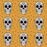 Sugar skull brown seamless pattern Royalty Free Stock Images