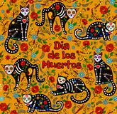 Sugar skull cats. Orange background with calavera cats and sugar skills for Day of the Dead, Dia de los Muertos stock illustration