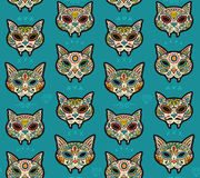 Sugar skull cats pattern. Mexican day of the dead. Royalty Free Stock Images