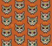Sugar skull cats pattern. Mexican day of the dead. Royalty Free Stock Image