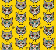 Sugar skull cats pattern. Mexican day of the dead. Seamless pattern - Day of The Dead cartoon calaveras sugar cat skulls. Mexican vector background for holiday Royalty Free Stock Photo