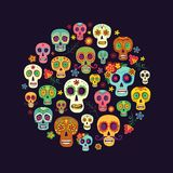 Sugar skull composition in the form of a circle Royalty Free Stock Photos