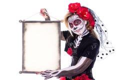Sugar Skull con il rotolo fotografie stock libere da diritti