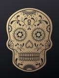 Sugar Skull dag av den döda guld- illustrationen stock illustrationer