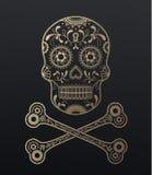 Sugar Skull dag av den döda guld- illustrationen royaltyfri illustrationer
