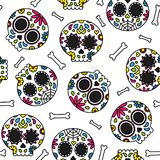Sugar skull day of the dead cute seamless pattern Royalty Free Stock Photography