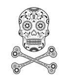 Sugar Skull day of the dead golden illustration Stock Image