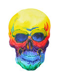 Sugar skull day of the dead human head watercolor painting hand drawn Royalty Free Stock Photo