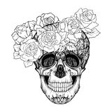 Sugar skull with decorative pattern and a wreath of red roses. S. Tock line vector illustration.  Outline hand drawing coloring page for adult coloring book Stock Photography