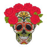 Sugar skull with decorative pattern and a wreath of red roses. Stock Images
