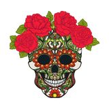 Sugar skull with decorative pattern and a wreath of red roses. Stock Photography
