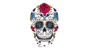 Sugar skull elements animation stock video