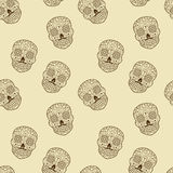 Sugar skull with floral ornament seamless pattern Stock Image