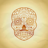 Sugar skull with floral ornament vector Illustration. Stock Photography