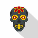 Sugar skull, flowers on the skull icon, flat style stock illustration