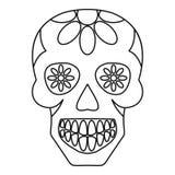 Sugar skull, flowers on the skull icon outline Stock Image