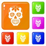 Sugar skull, flowers on the skull icons set vector color royalty free illustration