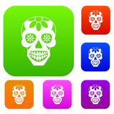 Sugar skull, flowers on the skull set color collection royalty free illustration