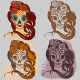 Sugar skull girl. Girl in makeup, representing the South American autumn holiday, the four variant Stock Image