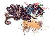 Sugar Skull Girl in corona del fiore royalty illustrazione gratis