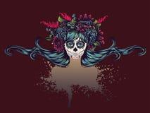 Sugar Skull Girl dans la couronne de fleur illustration de vecteur