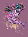 Sugar Skull Girl dans la couronne de fleur illustration stock