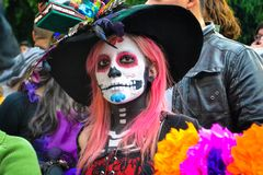 Mexico City, Mexico, ; November 1 2015: Sugar skull girl at the Day of the Dead celebration in Mexico City royalty free stock photography