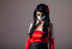 Sugar skull girl. Day of the Dead, Halloween royalty free stock images