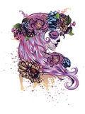 Sugar Skull Girl in Flower Crown Royalty Free Stock Photography