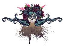 Sugar Skull Girl in Flower Crown Royalty Free Stock Image