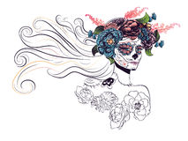 Sugar Skull Girl in Flower Crown Stock Image