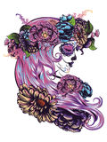 Sugar Skull Girl in Flower Crown Stock Photo