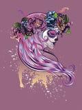 Sugar Skull Girl in Flower Crown Stock Images