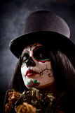 Sugar Skull Girl In Tophat Holding Dead Roses Stock Images