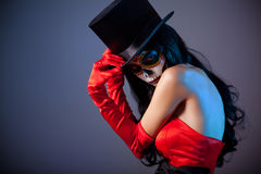 Sugar skull girl in tophat stock photos