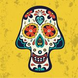 Sugar skull on grunge background Stock Images