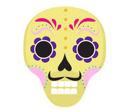 Sugar skull icon, flat, cartoon style. Cute dead head, skeleton for the Day of the Dead in Mexico. Isolated on white Stock Image