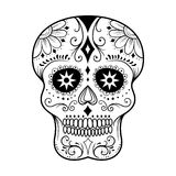 Sugar Skull Line Art. Traditional colorful sugar skull art vector illustration Stock Image