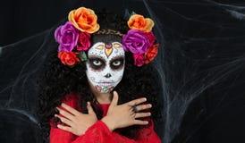 Sugar Skull little girl stock photo