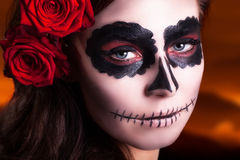 Sugar skull makeup royalty free stock image