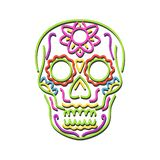 Sugar Skull Neon Sign. Retro style illustration showing a 1990s neon sign light signage lighting of a tattoo decorative sugar skull or calavera on isolated vector illustration