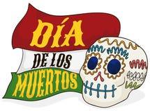 Sugar Skull Offering with Greeting Ribbons for 'Dia de Muertos', Vector Illustration Stock Image