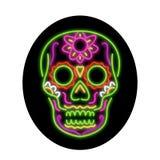 Sugar Skull Oval Neon Sign illustrazione di stock