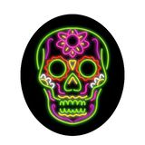 Sugar Skull Oval Neon Sign. Retro style illustration showing a 1990s neon sign light signage lighting of a tattoo decorative sugar skull or calavera set inside stock illustration
