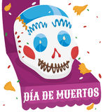 Sugar Skull over a Ribbon Celebrating Dia de Muertos, Vector Illustration Royalty Free Stock Image