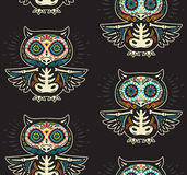 Sugar skull owls pattern. Mexican day of the dead background Stock Images