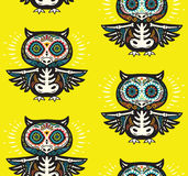 Sugar skull owls pattern. Mexican day of the dead background Royalty Free Stock Photography