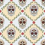 Sugar skull pattern. Dias de los muertos or Halloween illustration. Stock Photo