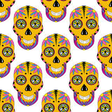 Sugar skull pattern with floral ornament. Vector Royalty Free Stock Photo