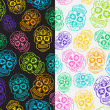 Sugar skull pattern set Royalty Free Stock Photo